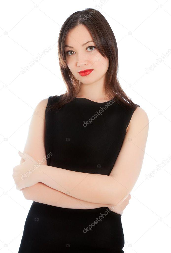5ff23cad4d15 Bella donna con labbra rosse in tubino nero isolato su bianco — Foto di ...