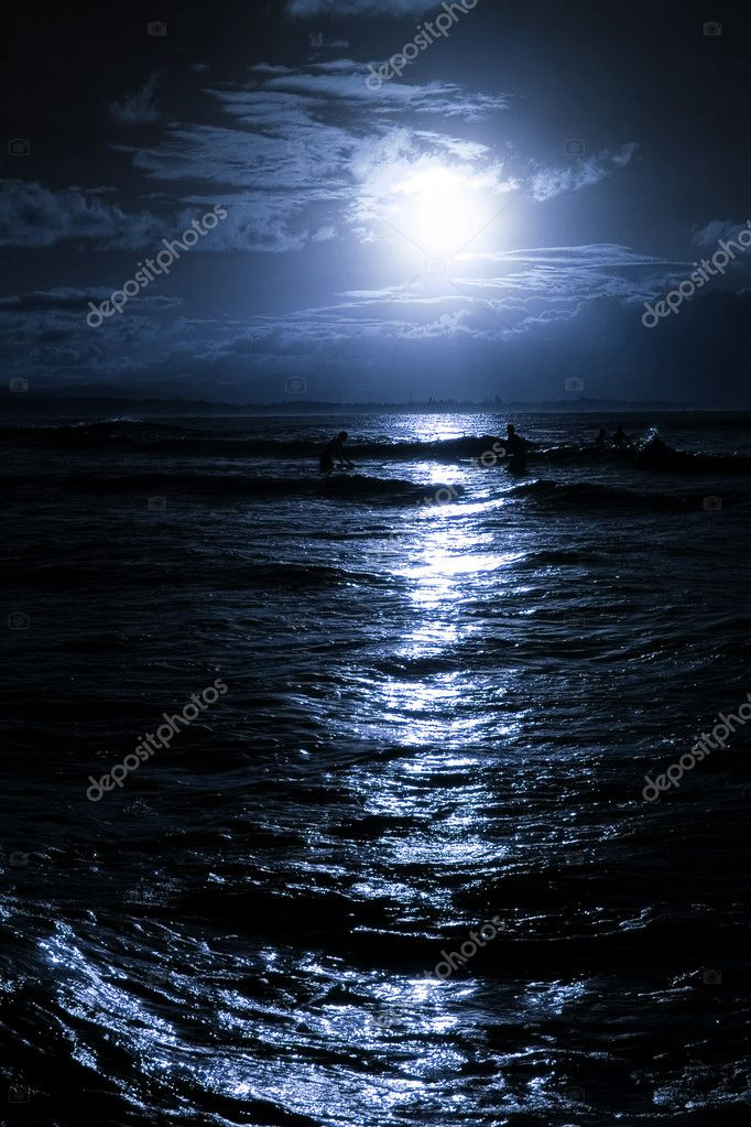 Moonrise over beach