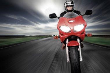 Speed Motorbike rider with motion