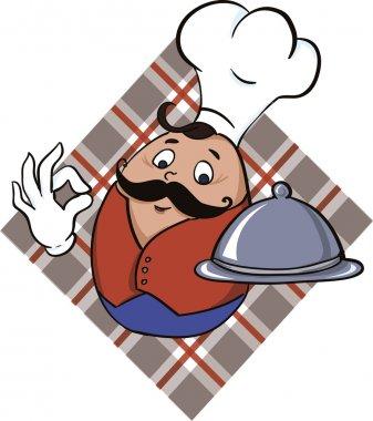 Chef serving delicious food - vector icon.
