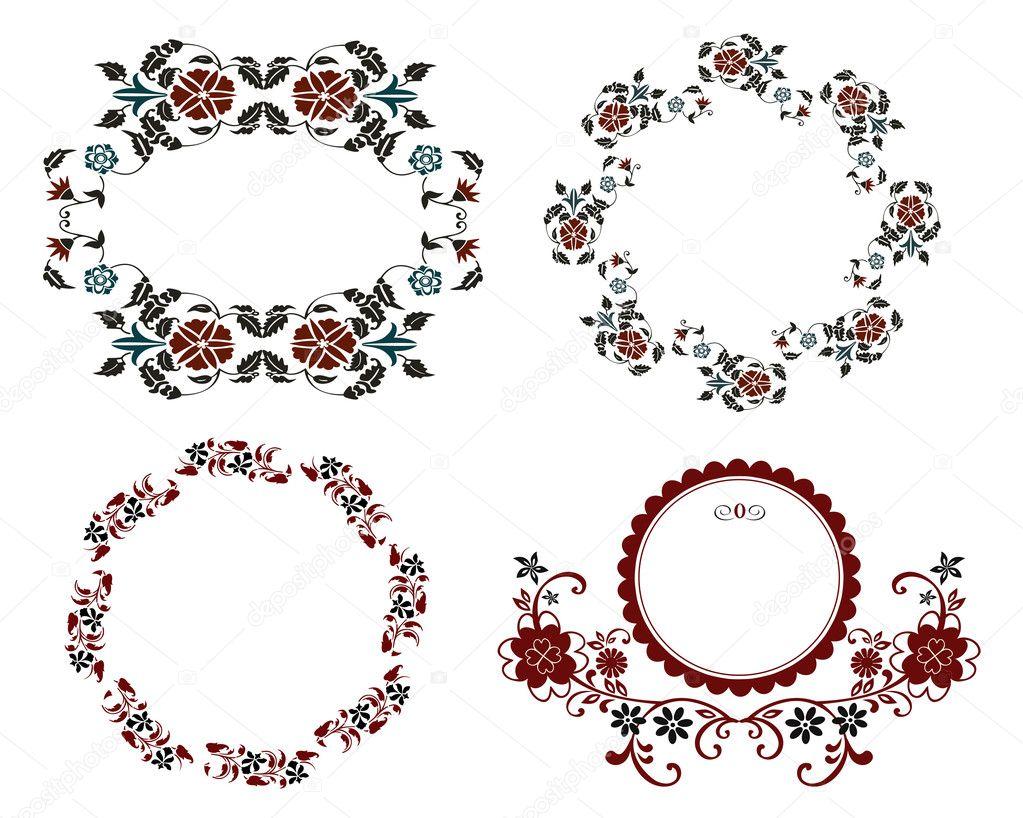 conjunto de marco flores vintage — Archivo Imágenes Vectoriales ...