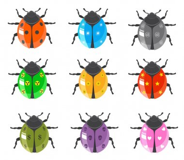 Ladybird insect and glossy bugs icon set