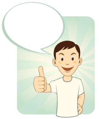 Cartoon man gesturing thumbs up with dialog box