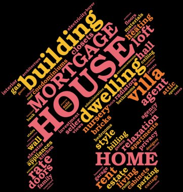 House - shaped tag cloud , home symbo