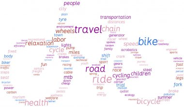 Bike, tag cloud illustration