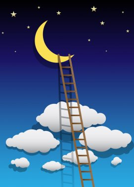 Vector Moon Illustration with Ladder