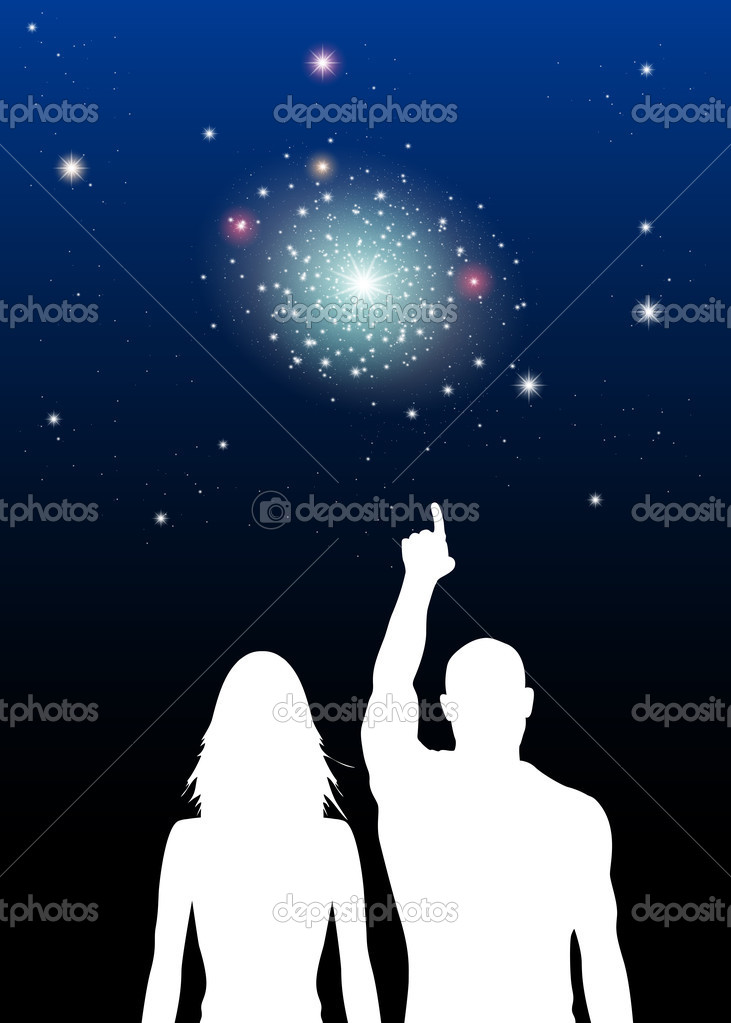 Vector Illustration of Couple viewing Stars