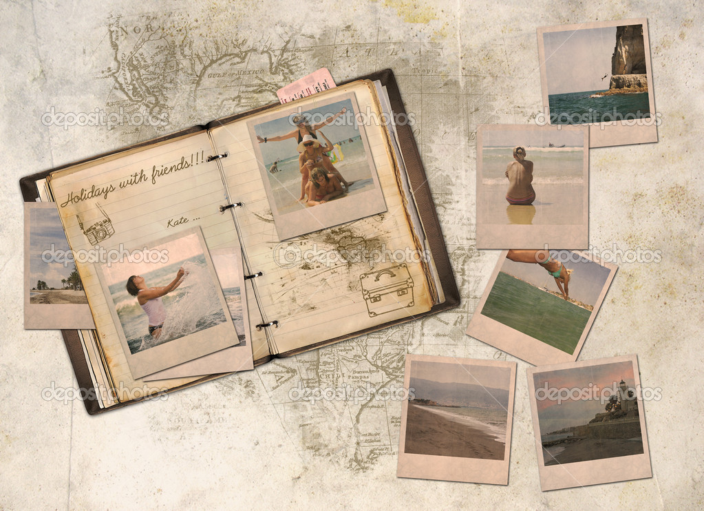 Collage, holiday with friends in a diary