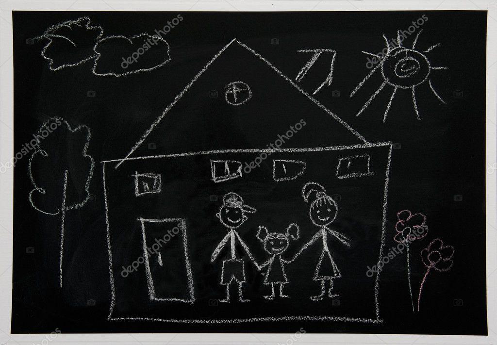 Dessin A La Craie dessin de la craie sur une commission scolaire — photographie