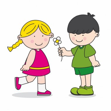 Adolescent love. Child gives a flower