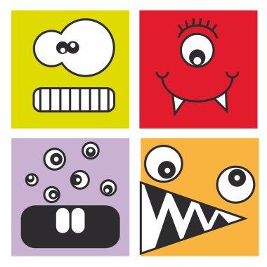 Monster Stickers clip art vector
