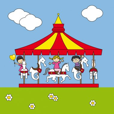 Children playing on the carousel