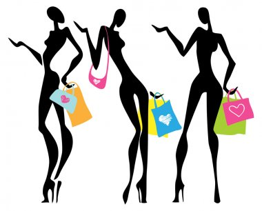 Illustration a shopping women with bags