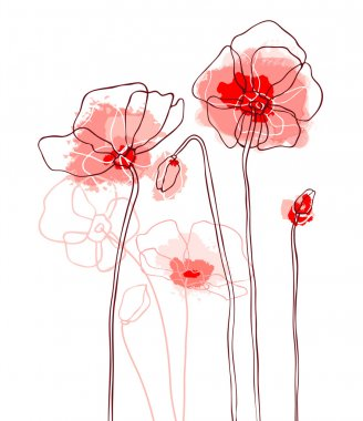 Red poppies on white background. Vector illustration clip art vector