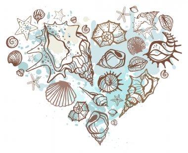Heart of the shells. Hand drawn vector illustration