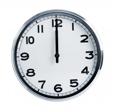 Wall office clock showing at noon