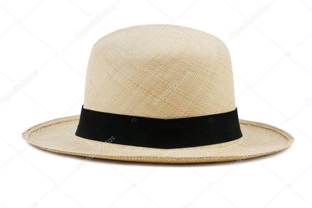 široký slaměný klobouk na bílém pozadí — Stock Fotografie ... 0c1ef83a87