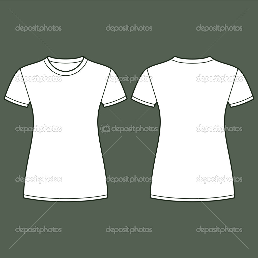 Shirt design illustrator template - White T Shirt Design Template Front And Back Vector By Nikolae