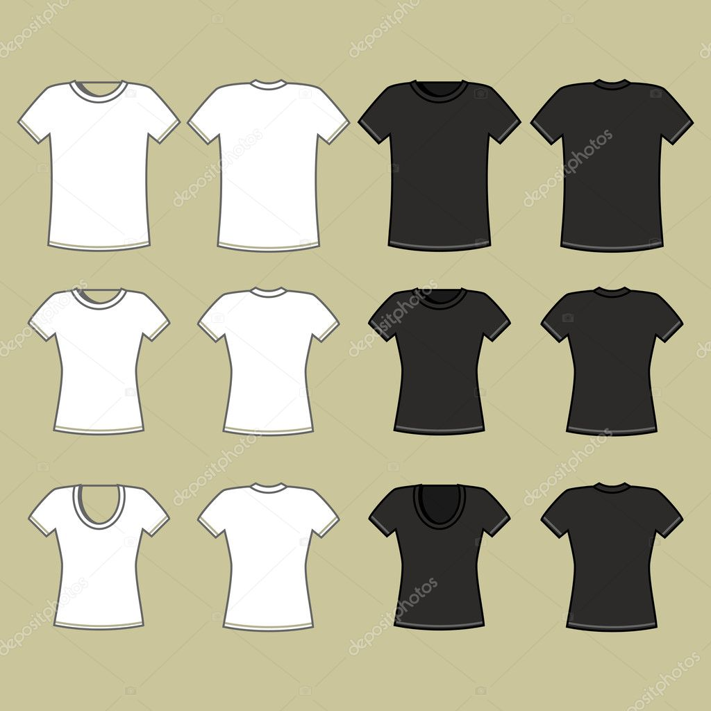 Black t shirt vector template - Black And White T Shirt Template Vector By Nikolae