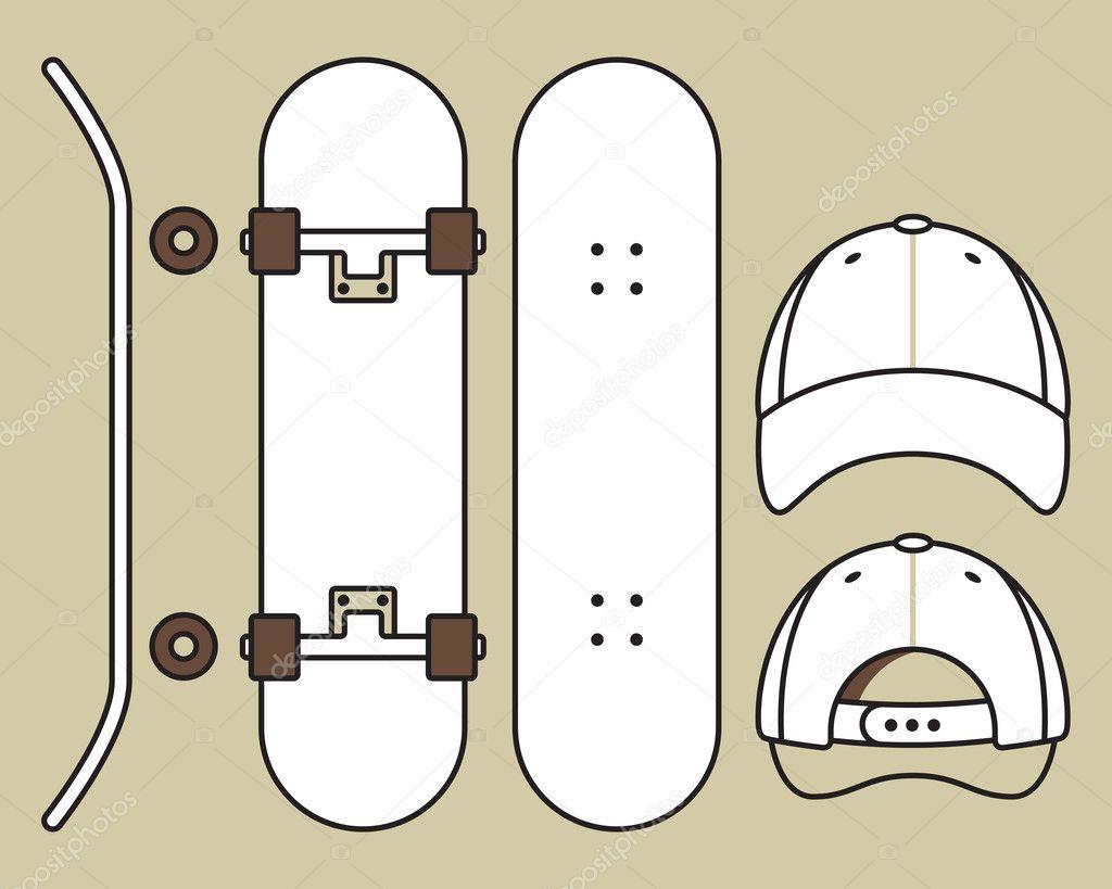 Skateboard und cap — Stockvektor © nikolae #9388331