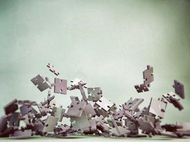 Puzzle pieces falling
