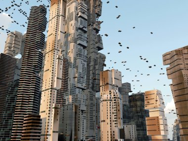 Future city skyline with flying cars around