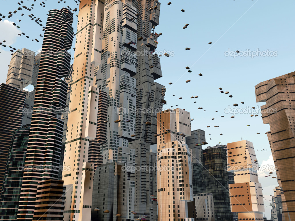 Future City Skyline With Flying Cars Around Stock Photo