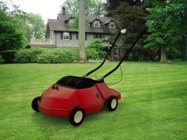 Red lawnmower in a beautiful green garden