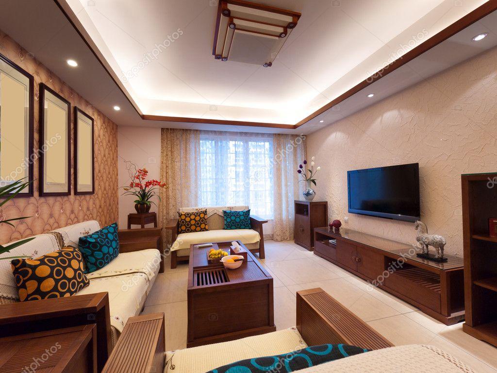 Huis interieur decoratie met chinese stijl u stockfoto