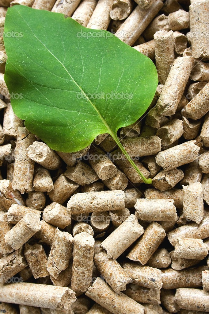 Pile of wood pellets with a green leaf