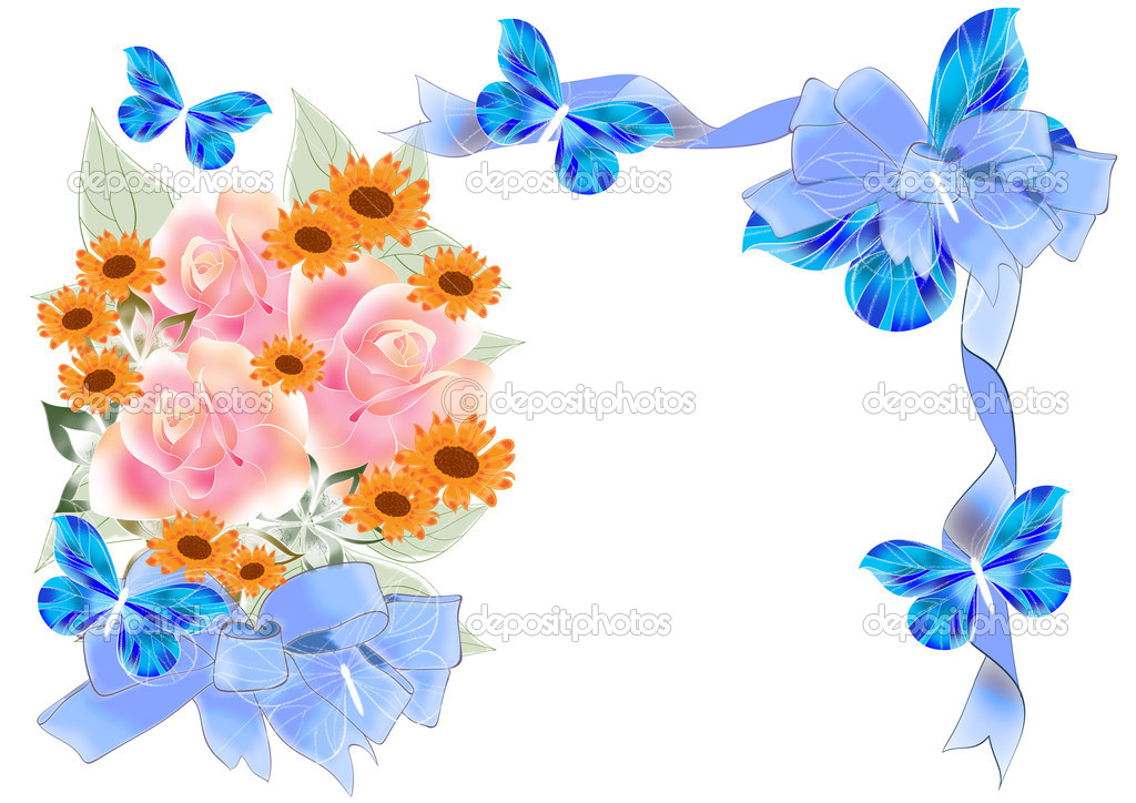 marco de flores hermosas con rosas y arcos — Foto de stock ...