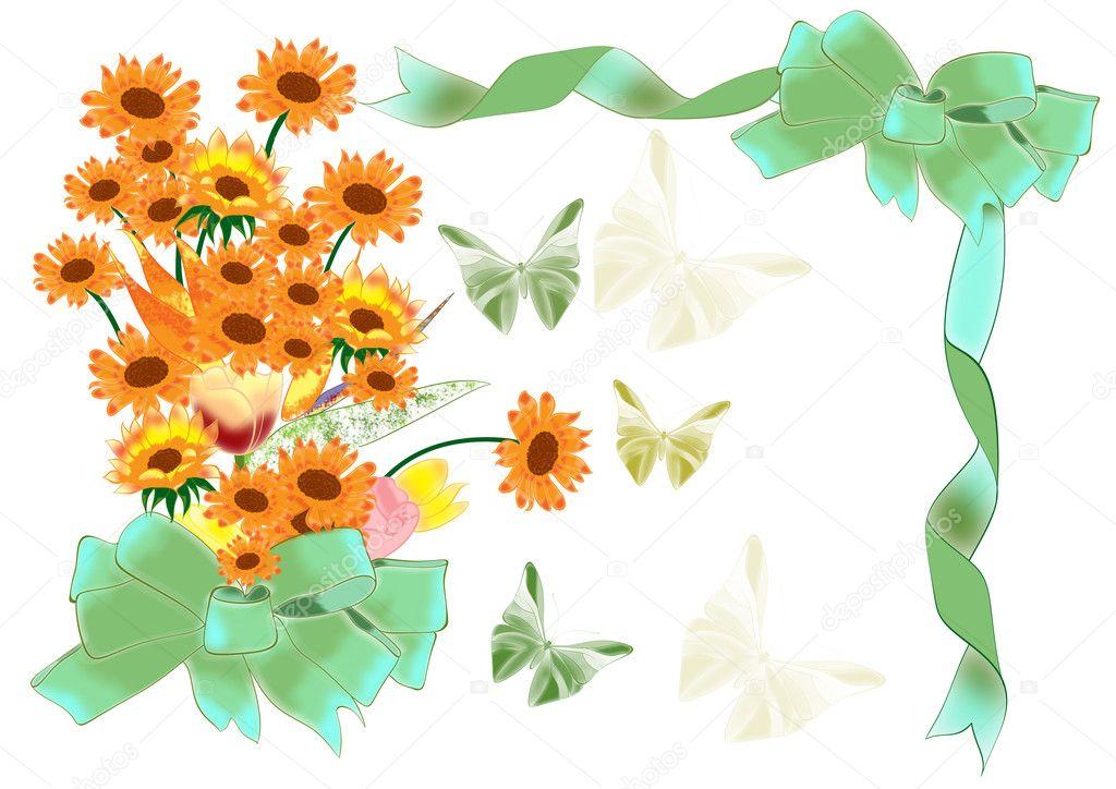 diseño de marco y tarjeta con bouquet de flores bonitas — Foto de ...