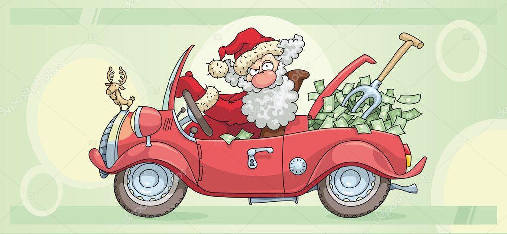 картинка дед мороз и олень за рулем машины ориентирована