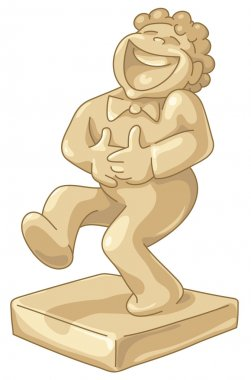Golden statuette of laughing man