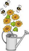 konev s květiny a včely