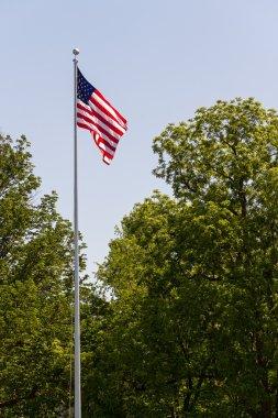 US Flag Flies on a High Pole