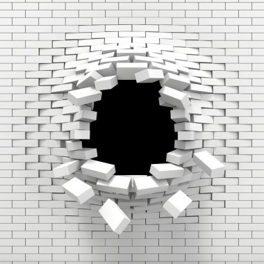 Black hole in the brick wall stock vector