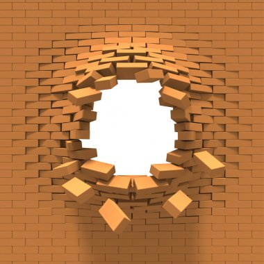 Destruction of a brick wall