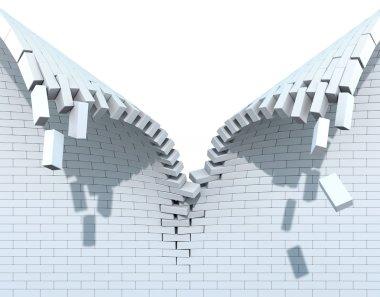 Destruction of a white brick wall