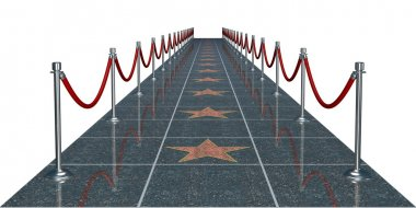 Rendered sidewalk with the stars, the stanchions and the ropes stock vector