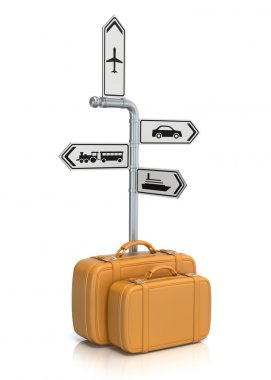 Signpost and suitcases