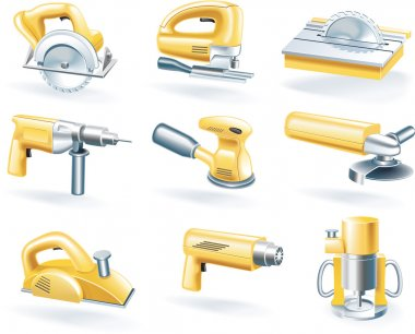 Vector electric tools icon set