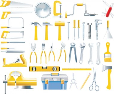 Set of tools used by woodworkers clip art vector