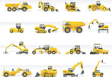 Set of detailed tractors and excavators stock vector