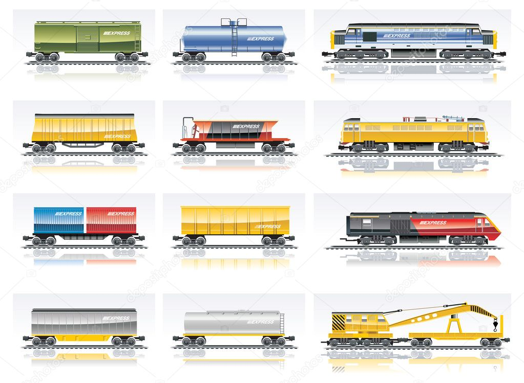 Vector railroad transportation icon set