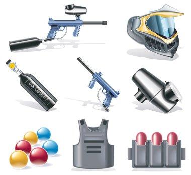 Vector paintball icon set