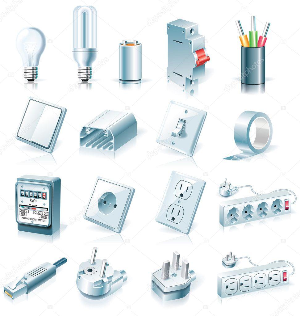 Vector electrical supplies icon set