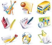 Fényképek Vektor rajzfilm stílusú ikon készlet. 24. rész. Iskola