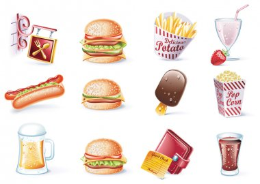 Vector cartoon style icon set. Part 22. Fast Food
