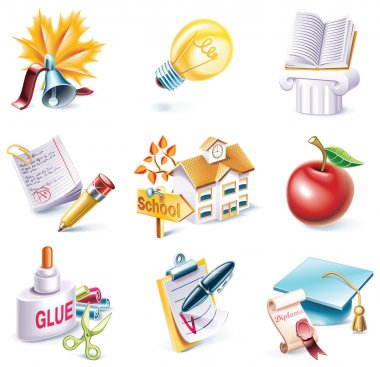 Vector cartoon style icon set. Part 25. School